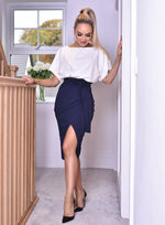 Navy & Ivory Judith Wrap Front Batwing Dress