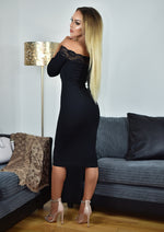 Florida Bardot Black Lace Dress - Missfiga.com