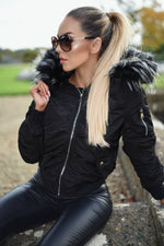 Norma Black Fur Hood Bomber Jacket