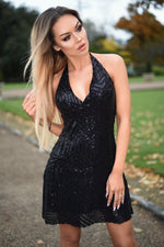 Mira Luxe Black Sequin Backless Dress