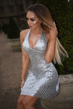 Mira Luxe Silver Sequin Backless Dress