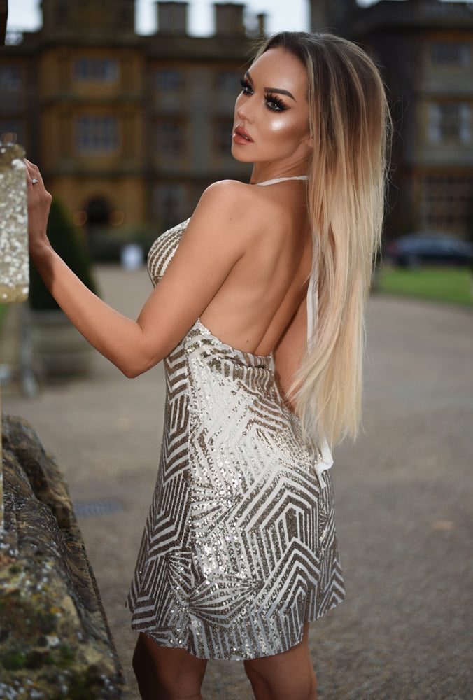 Mira Luxe Rose Gold Sequin Backless Dress