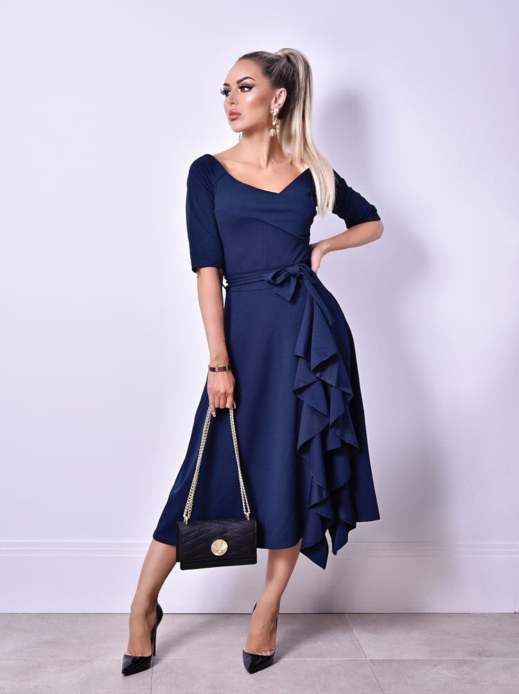 Charlie Navy Wrap Bardot Frill Dress