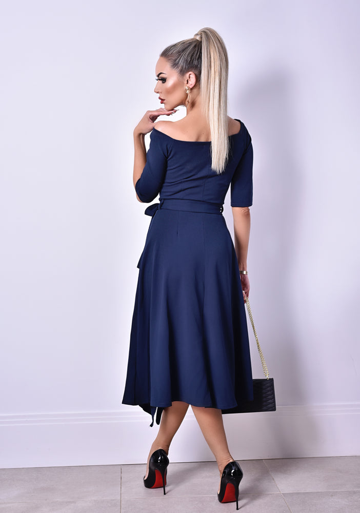 Charlie Navy Wrap Bardot Frill Dress - Missfiga.com
