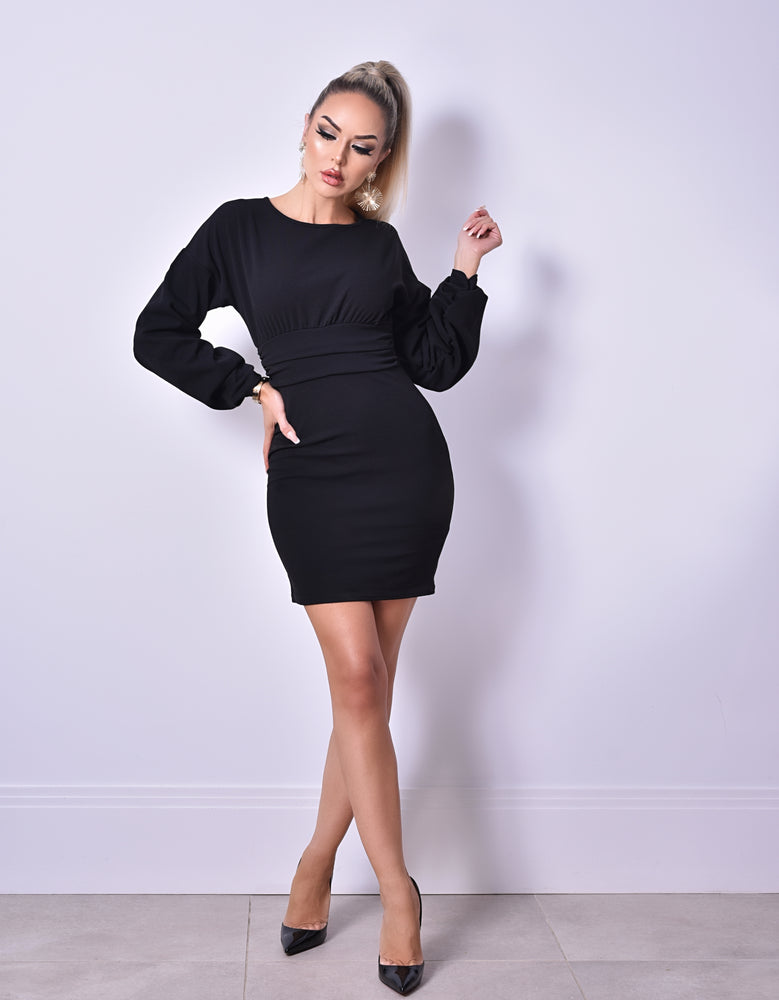 Cali Black Long Sleeve Gathered Dress