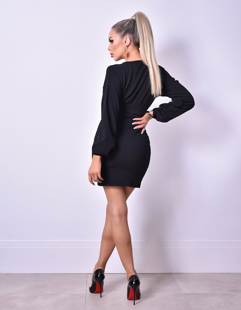 Cali Black Long Sleeve Gathered Dress - Missfiga.com