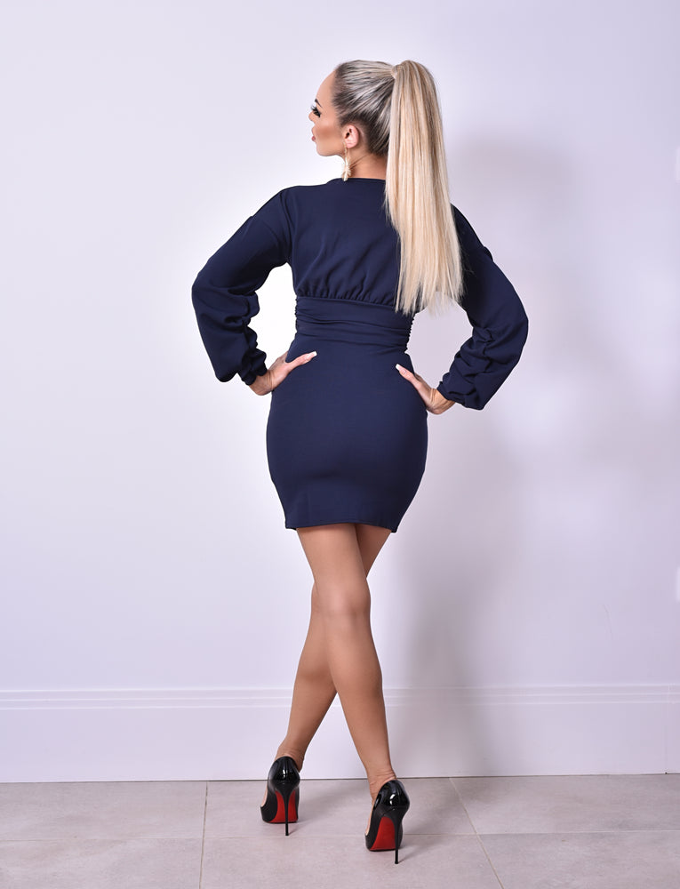 Cali Navy Long Sleeve Gathered Dress - Missfiga.com