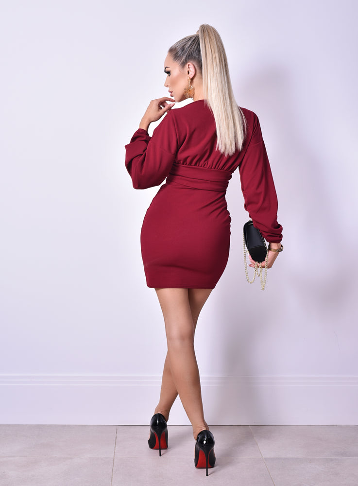 Cali Burgundy Long Sleeve Gathered Dress