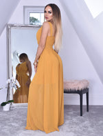 Crystal Mustard Woven V Neck Back Shirred Maxi Dress