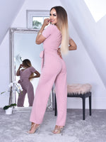 Avya Blush Volume Sleeve Wrap Flared Leg Jumpsuit