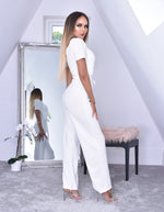 Avya Ivory Volume Sleeve Wrap Flared Leg Jumpsuit