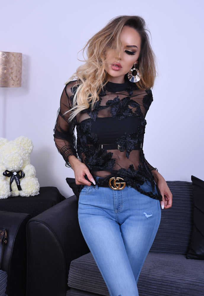 Elaine Black Mesh Floral Long Sleeve Top