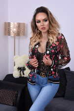 Bailey Black Floral Mesh Bomber Jacket