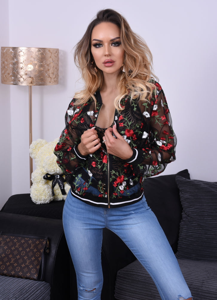 Vanessa Black Rose Mesh Bomber Jacket