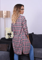 Clinton Houndstooth Printed Long Sleeve Duster Jacket