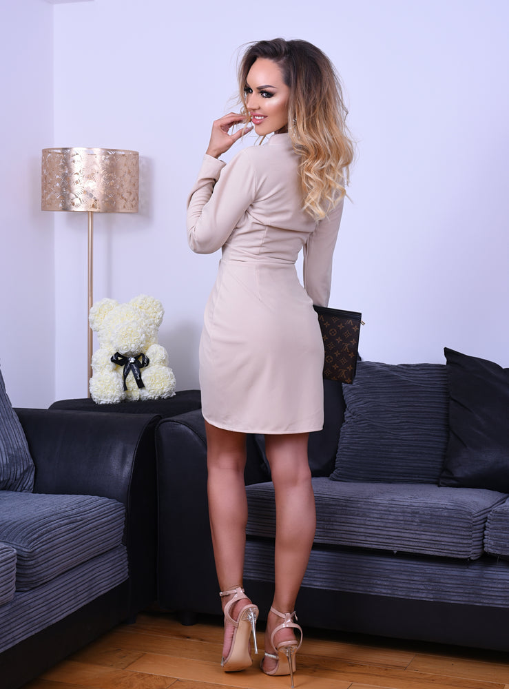 Mariah Stone Pleated Wrap Long Sleeve Tailored Mini Dress