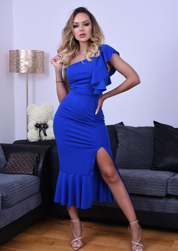 Felicity Royal Blue One Shoulder Ruffle Maxi Dress