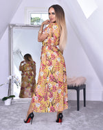 Destination Mustard Tropical Wrap Slit Maxi Dress