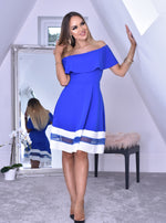 Hope Blue Bardot Frill Contrast Flared Skater