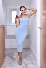 Cadi Baby Blue Ribbed Cami Dress