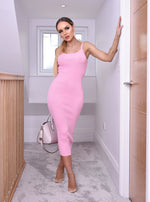 Cadi Pink Ribbed Cami Dress