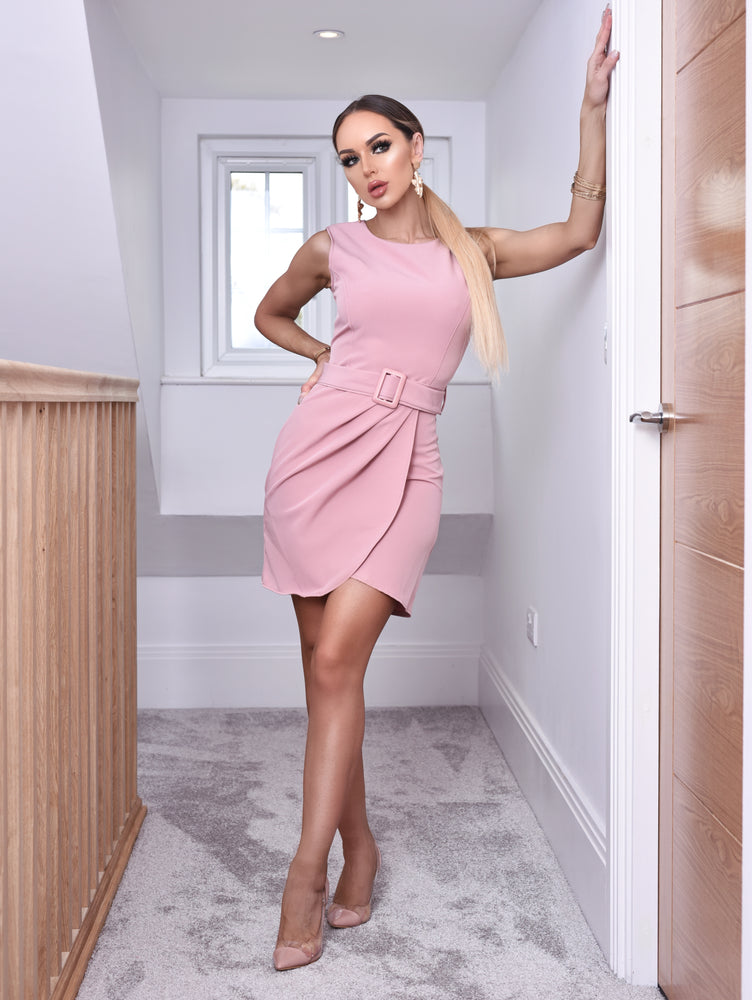 Jazmine Pink Pleated Wrap Belted Mini Dress