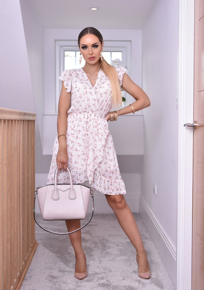 Mabel Ivory Floral Ruffle Sleeve Wrap Frill Tea Dress