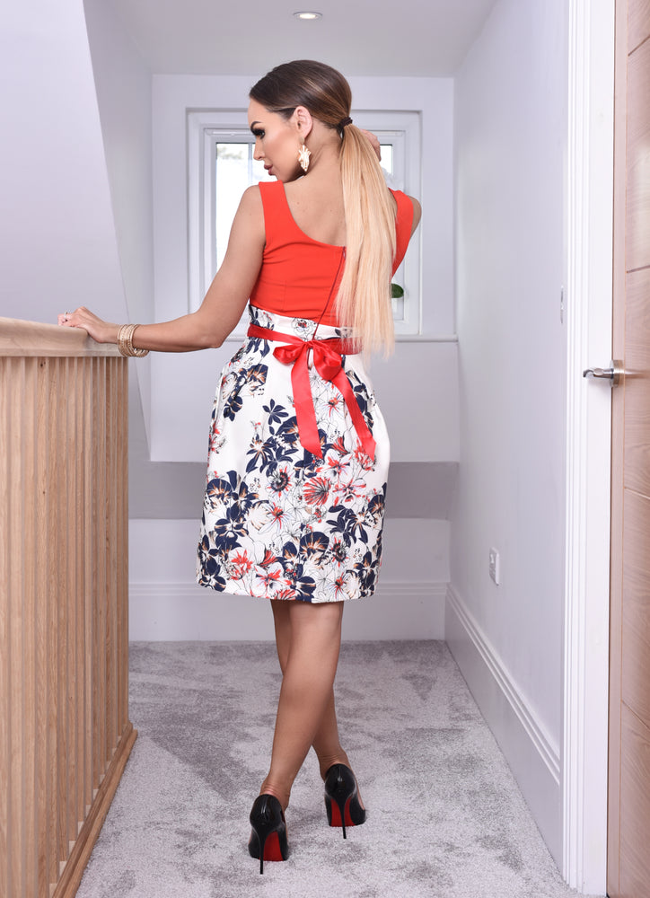 Robyn Red Pleated Floral Skater Dress