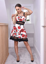 Laura Ivory and Red Floral Mesh Trim Strappy Skater
