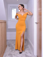 Cher Mustard Bardot Slit Maxi Dress