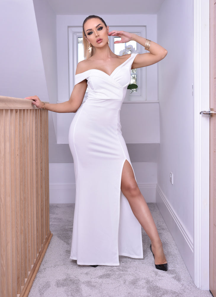 Cher Ivory Bardot Slit Maxi Dress