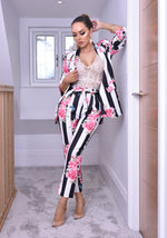 Rihanna Floral Stripe Mock Pocket Blazer