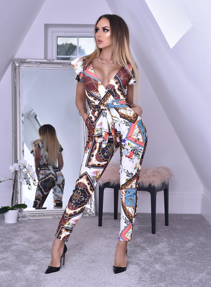 Joy Wrap Scarf Print Jumpsuit