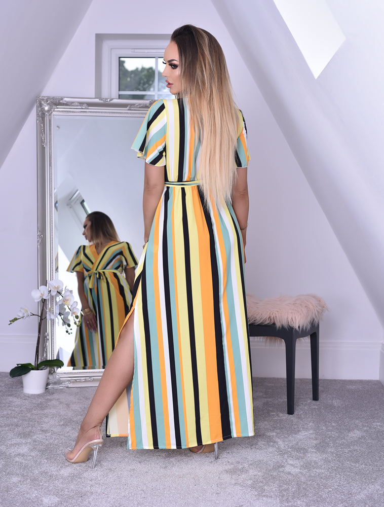 Sunshine Stripe Wrap Slit Maxi Dress