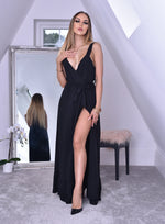 Whitney Black Wrap Strappy Maxi Dress