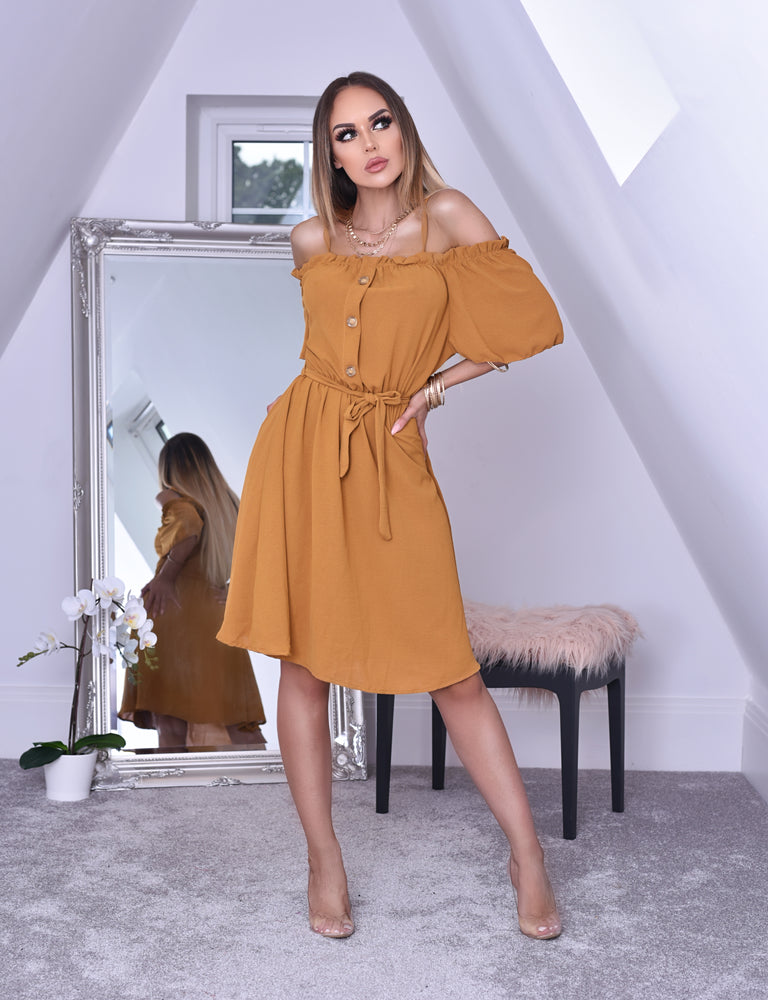 Monica Mustard Horn Button Bardot Shirt Dress