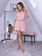 Sarah Pink Horn Button Bardot Playsuit