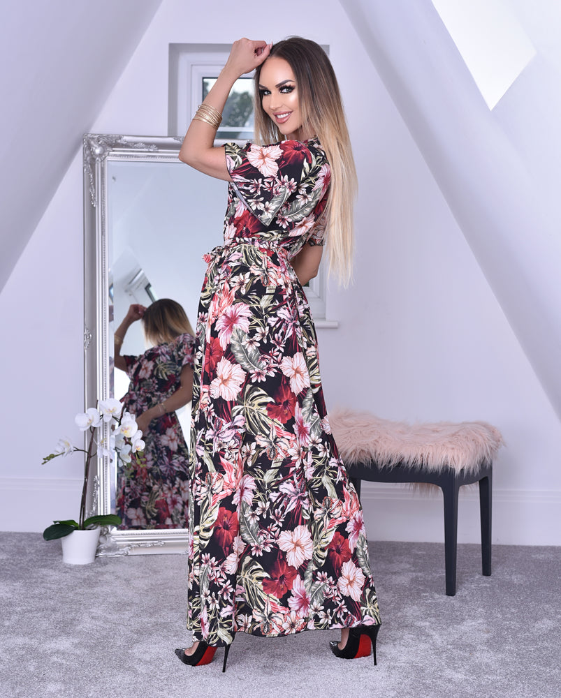 Brynn Black Tropical Wrap Slit Maxi Dress
