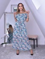 Carol Blue Floral Wrap Off the Shoulder Frill Dress