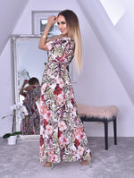 Brynn White Tropical Wrap Slit Maxi Dress