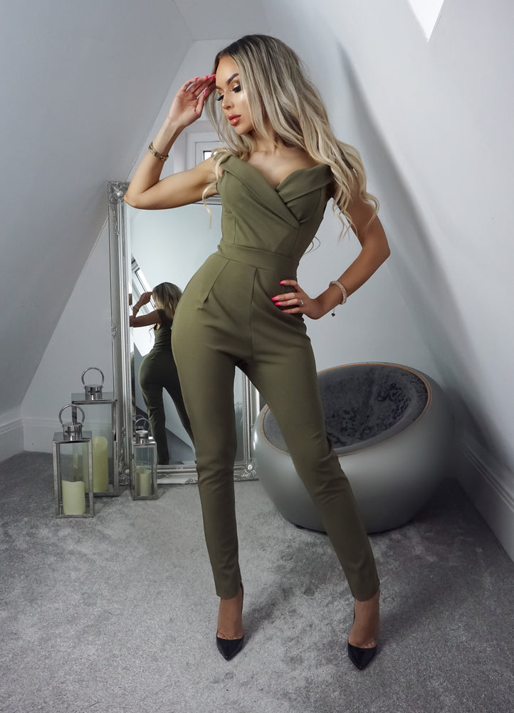 Terry Khaki Off the Shoulder Jumpsuit