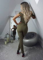 Terry Khaki Off the Shoulder Jumpsuit - Missfiga.com