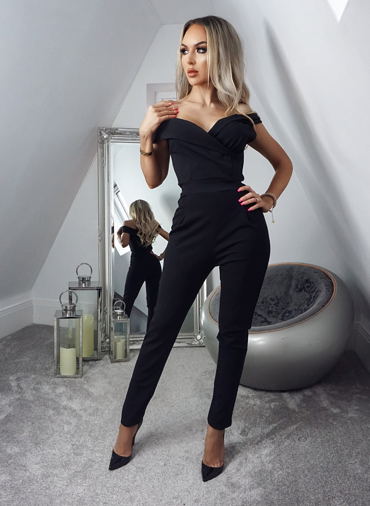 Terry Black Off the Shoulder Jumpsuit