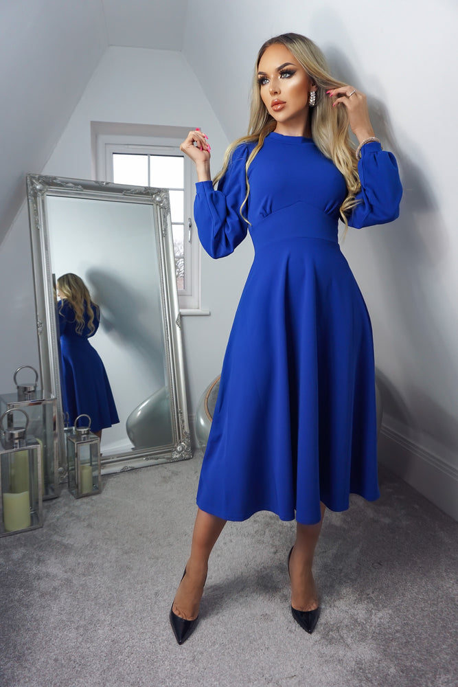 Julietta Royal Blue Long Sleeve Turtle Neck Skater Dress - Missfiga.com