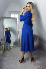 Julietta Royal Blue Long Sleeve Turtle Neck Skater Dress