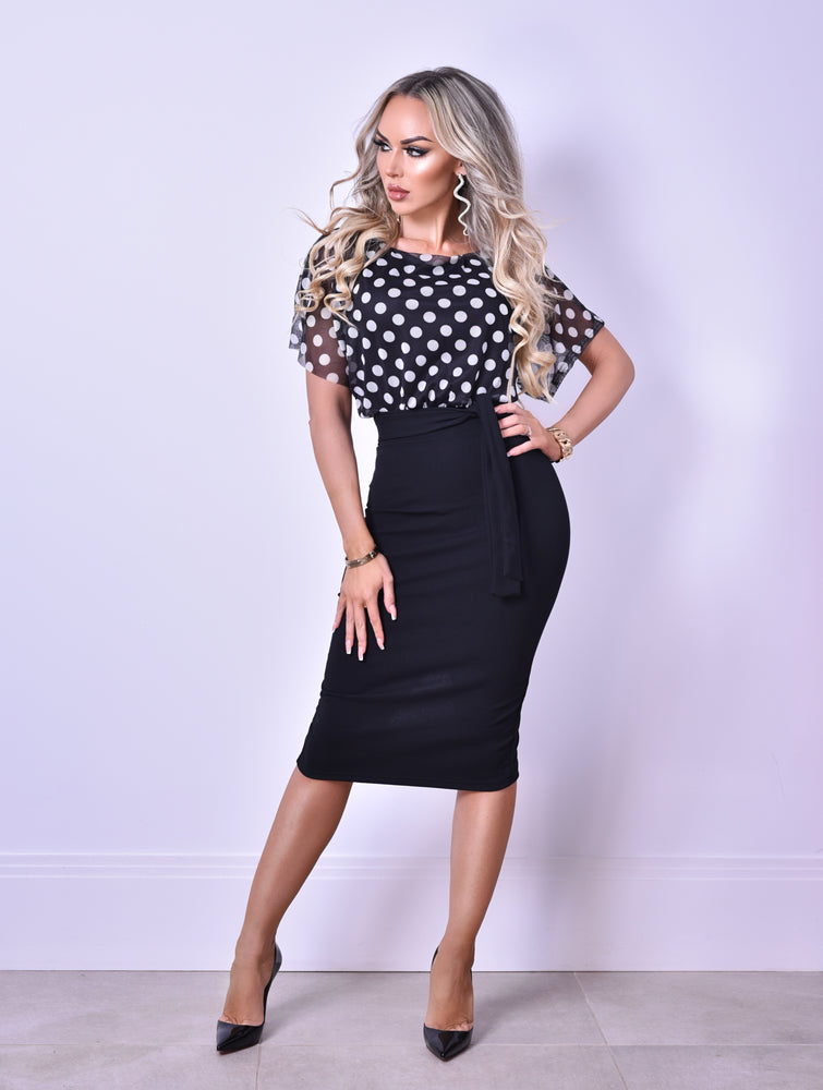Rachel Black Polka Dot Contrast Batwing Dress
