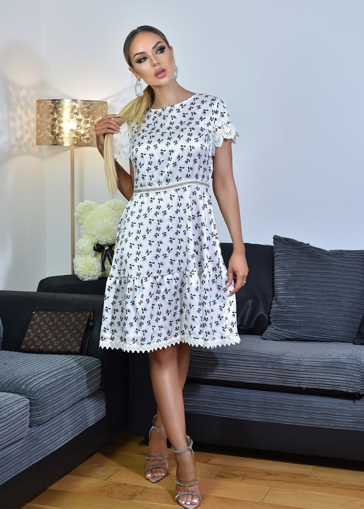 Ruby Ivory Woven Glossy Printed Short Sleeve Smock Dress