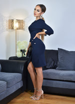 Ariana Navy Button Detail Long Sleeve Collard Split Hem Midi Dress