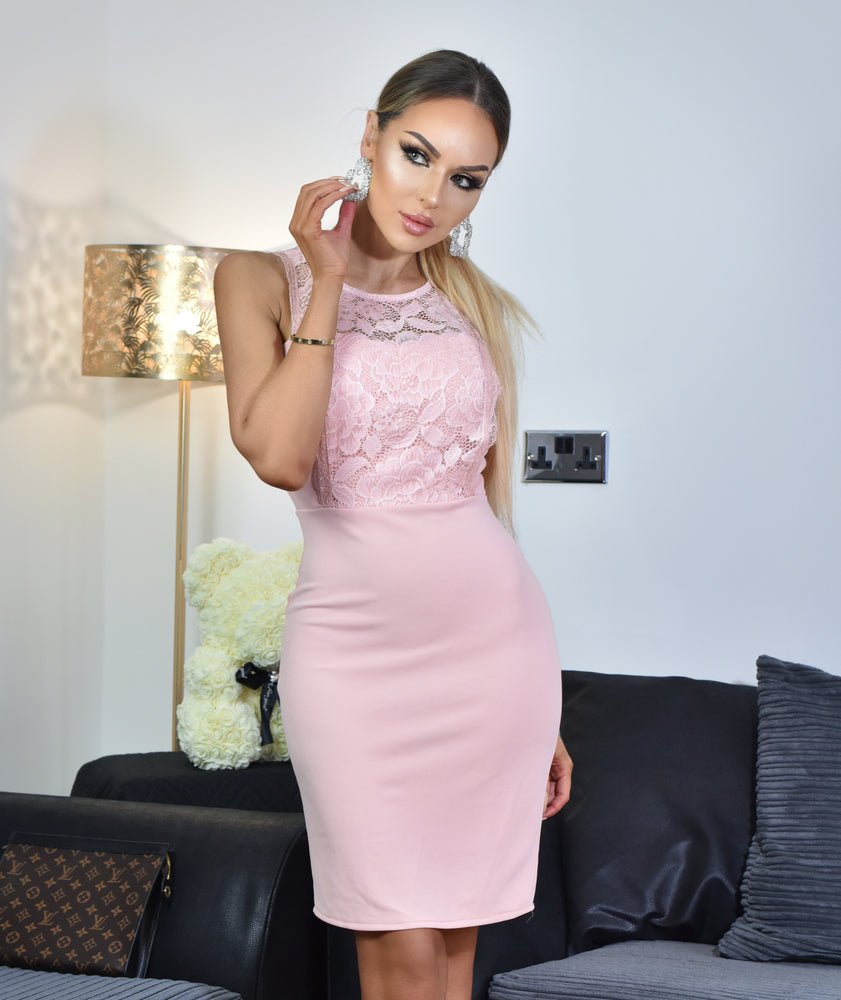 Maya Pink Lace Sleeveless Midi Dress - Missfiga.com