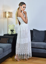 Thalia Ivory Shirred Bodice Tassel Lace Tube Dress